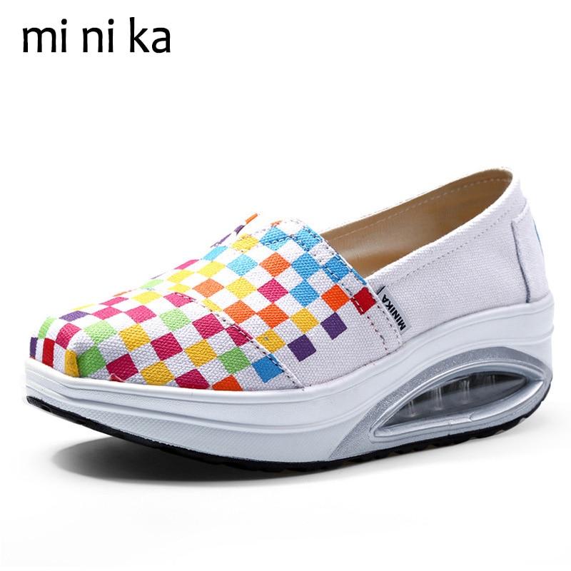MINIKA Grid Height Increasing Swing Shoes Canvas Platform Women Flats New 2017 Fashion Female Casual Women Boat Shoes SNE-800