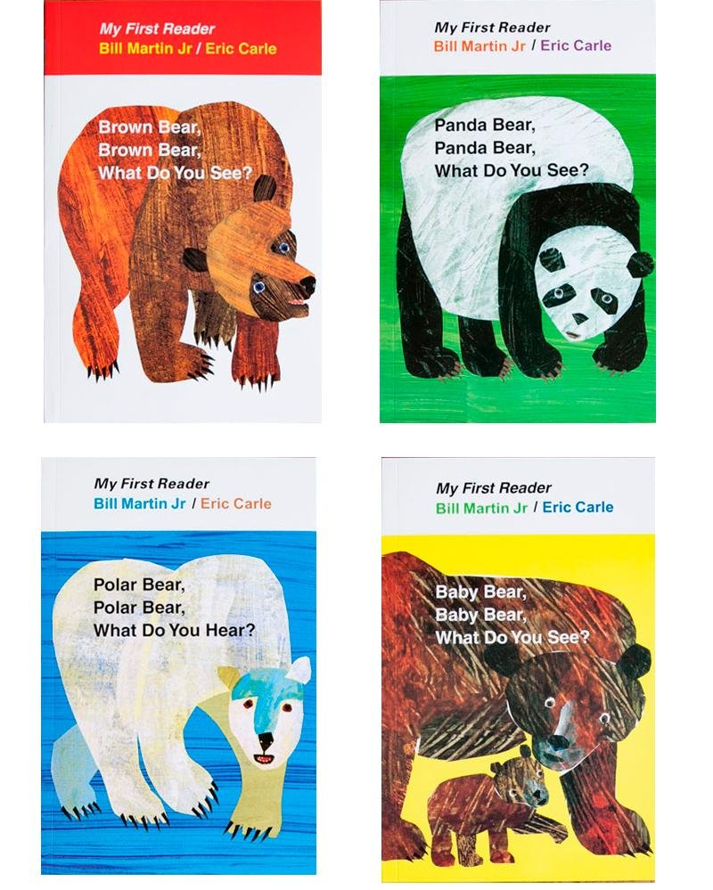 4PCS English book for children My First Reader Mini Library: Brown Bear, Brown Bear, What Do You See? educational popular book развивающая игрушка brown bear what do you see jy cd