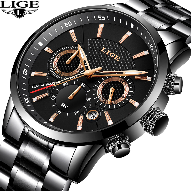 LIGE Watches Men Top Brand Luxury Classic Black Quartz Watch Male Fashion Waterproof Full Steel Sport Watch Clock Montre homme(China)