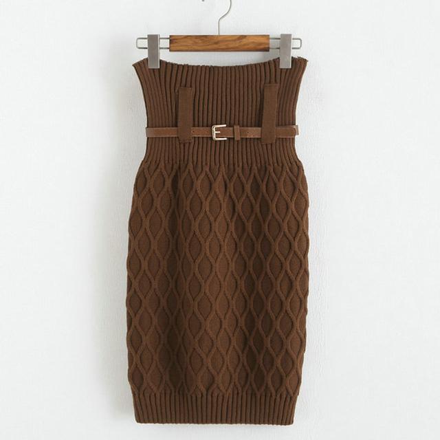 Bq63 otoño e invierno para mujer elegante de la alta cintura hasta la rodilla Cable curvas de punto faldas lápiz faldas con la correa libre envío gratis