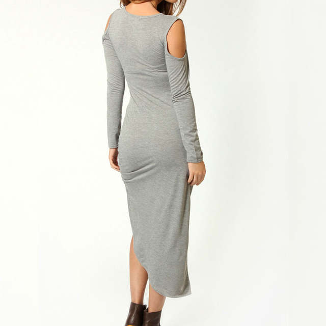 3bfab632941 Online Shop Sexy Women Maxi Dress Autumn Long Sleeve Cut Out Shoulder  Ruched Side Bodycon Dress Clubwear Cotton Midi Dress Grey