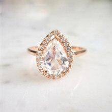 14k Rose Gold Jewelry Pear-shaped Diamond Ring for Women Anillos De Peridot Bizuteria Wedding Gemstone Diamante Rings