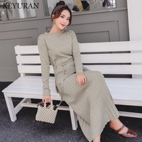 Fashion 2 Piece Set Women suit 2018 New Autumn Winter Women's Knitted Long Sleeve Top Sweater High Waist Bottoming Pleated skirt