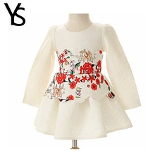 2-8Years Little Girls White Flower Embroidery Long Sleeve Princess Dress Baby Girls Kids Toddler Children Clothes