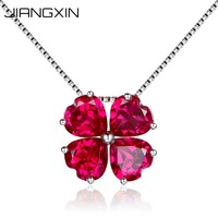 925 Sterling Silver Fine Jewelry Pigeon Blood Red Ruby Pendant Necklace for Women Birthstone Lucky Four Leaf Clover