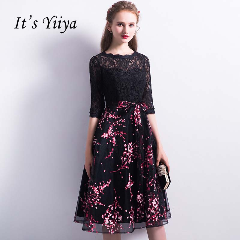 It's YiiYa In Stock Vintage Printing Illsution Lace Black   Bridesmaids     Dresses   Half Sleeve Formal   Dress   YS032 Clearance Sales
