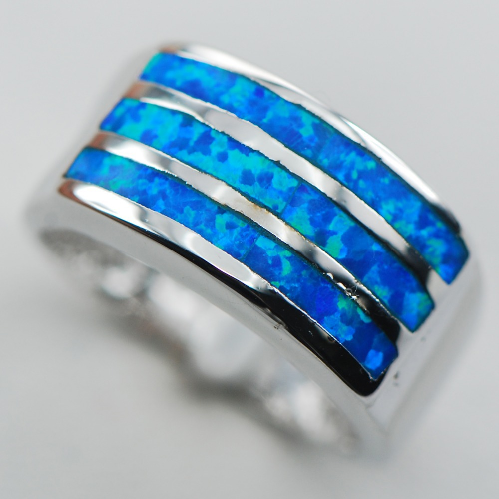 Blue Opal 925 Sterling Silver Ring Size 6 7 8 9 10 R1304