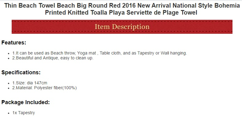 Image 2 - CAMMITEVER Thin Tapestry Beach Towel Beach Big Round Red National Style Bohemia Printed Toalla Playa Serviette de Plage-in Tapestry from Home & Garden