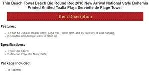Image 2 - Cammitever 얇은 태피스 트리 비치 타월 비치 빅 라운드 레드 내셔널 스타일 보헤미아 프린트 toalla playa serviette de plage