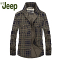AFS JEEP 2016 Plaid The new autumn men's long sleeve shirt Big Size jeep leisure men's shirt  Man Slim cotton lapel shirt 75