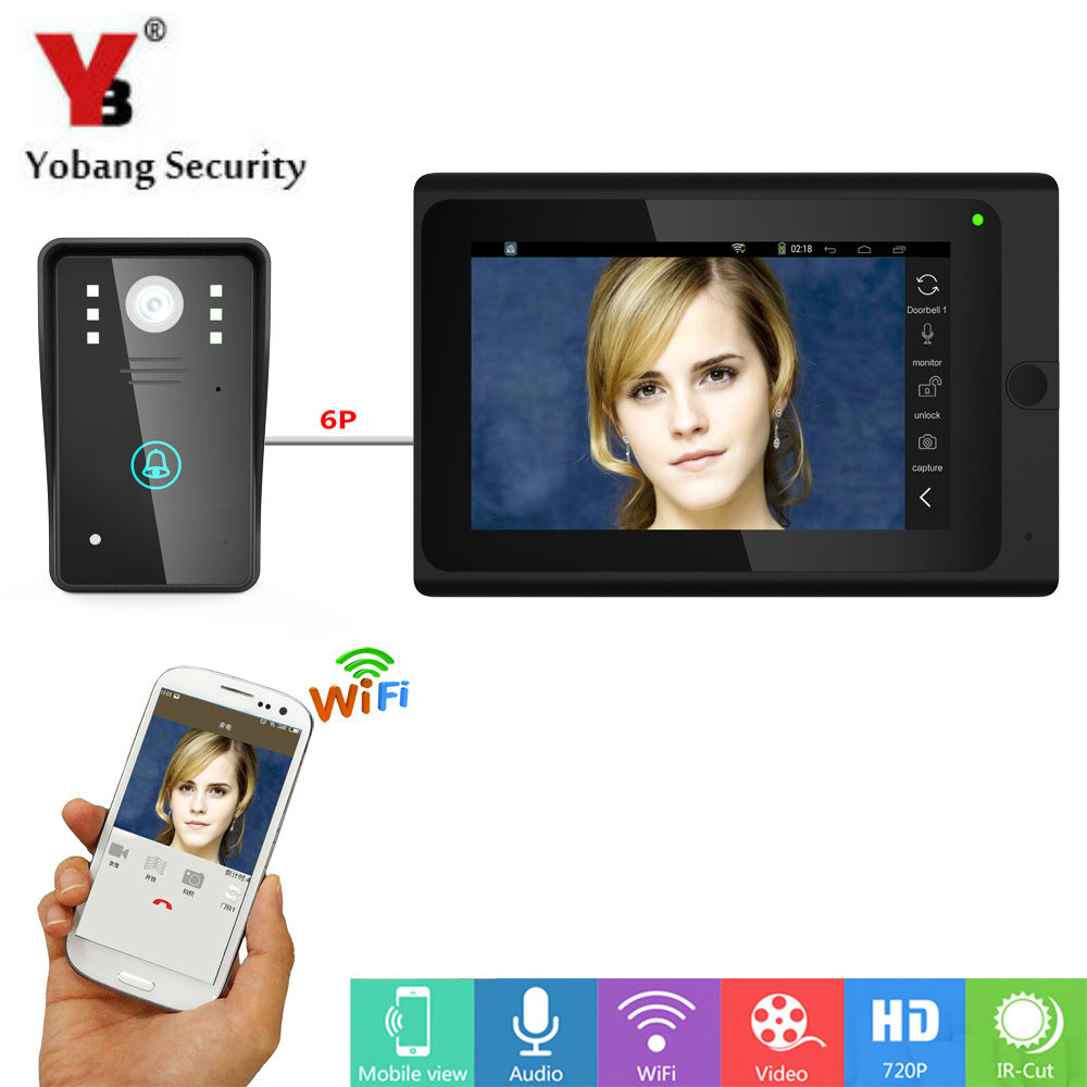 Yobang Security Android IOS APP 7 Inch Monitor Wifi Wireless Video Door Phone Doorbell Intercom Video Door Entry Intercom System new wifi video intercom wifi wireless video door phones app can be run in android and ios devices dhl