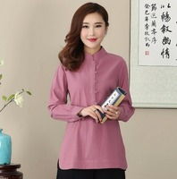 2017 Hot Solid Brown Cotton Mandarin Colla Linen Women Shirt Chinese Long Sleeve Tops Blouse Size
