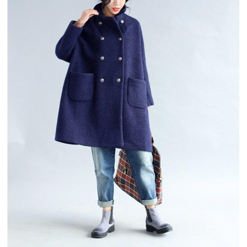Nieuwe Plus Size Vrouwen 2018 Herfst Winter Wol Blends Jas Jas Dames Lange Overjas Mode Oversized Windjack Bovenkleding X147-in Wol en mengsels van Dames Kleding op  Groep 1