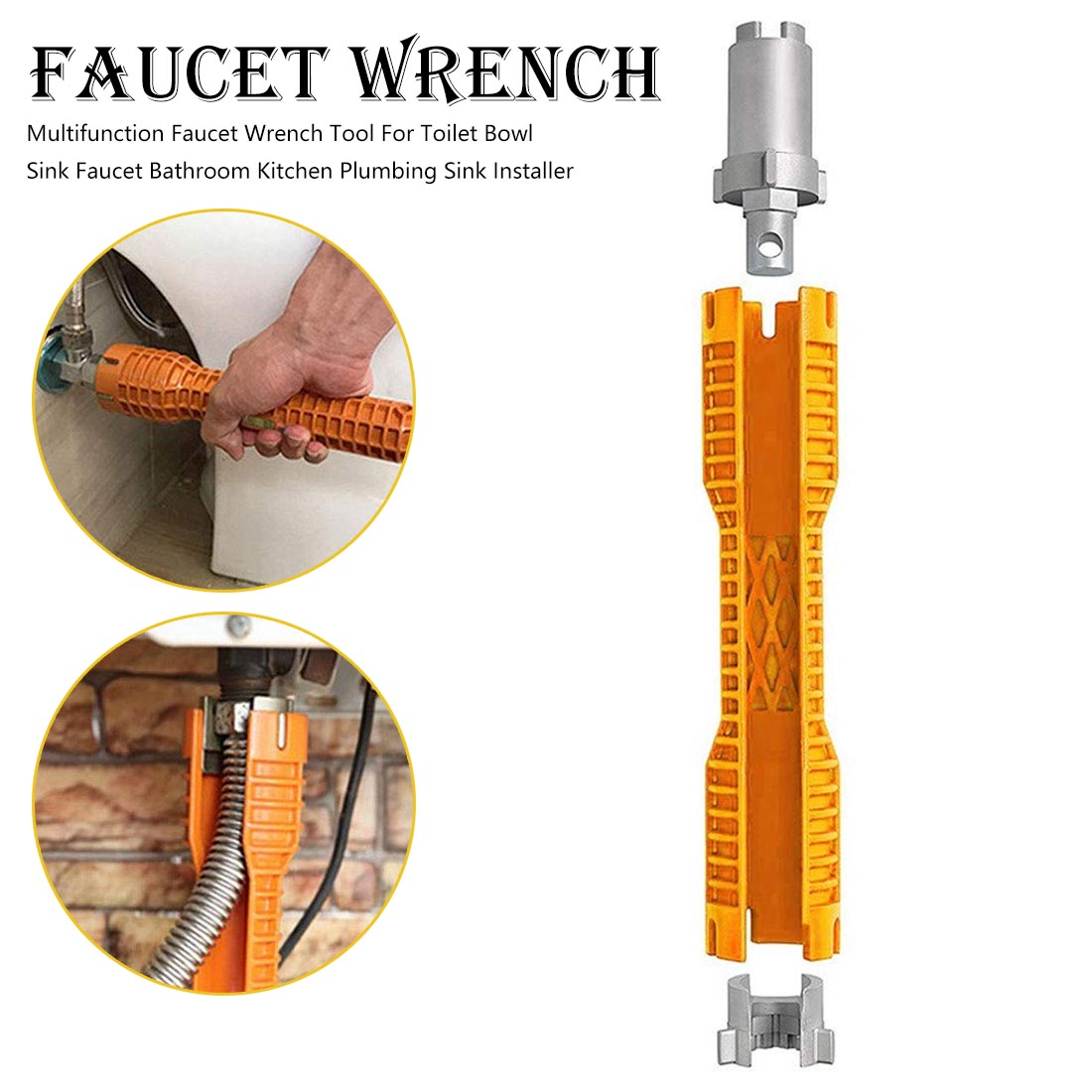 Faucet And Sink Installer Wrench Anti-Slip Handle Double Head Wrench Tool Extra-long Design Wrench Tools