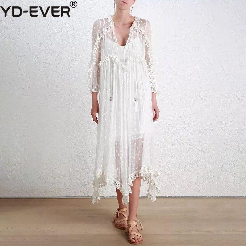 Poignet Manches Gilet Dentelle Printemps V ever Robes Avec Yd Femmes Blanc Robe De 2019 Féminine Broderie Cou Asymétrique Lourd Casual rCoEdeQxBW