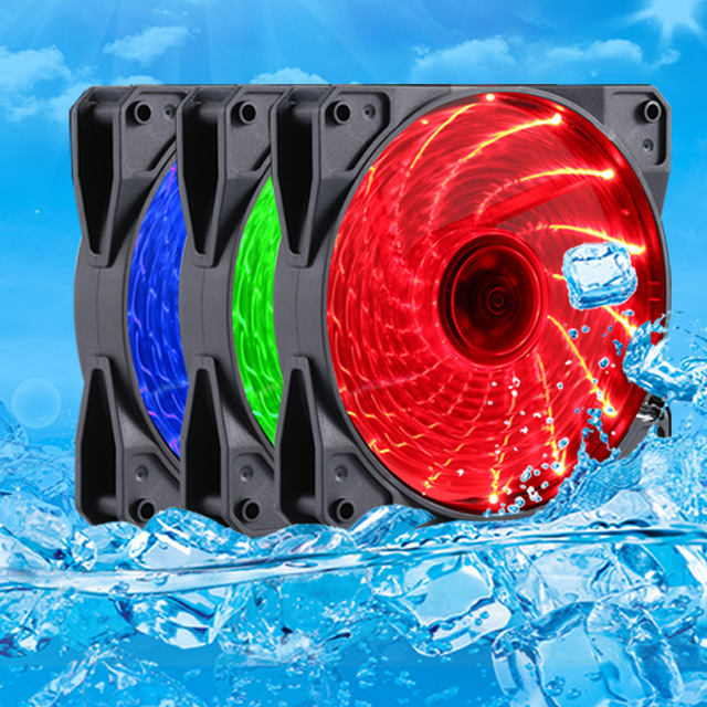 PC Computer Case Heatsink Cooler Cooling Fan Red/Blue/Green LED DC 12V 4P 3P 120mm 120*120x25mm 12025S 12cm