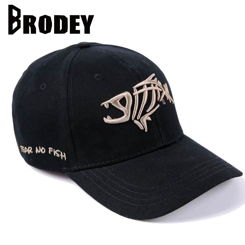 Fashion   Baseball     Cap   for Men Fish bones Embroidery Cotton   Caps   New Summer Black Dad Hats Male Hip Hop Snapback   Cap   Adjustable