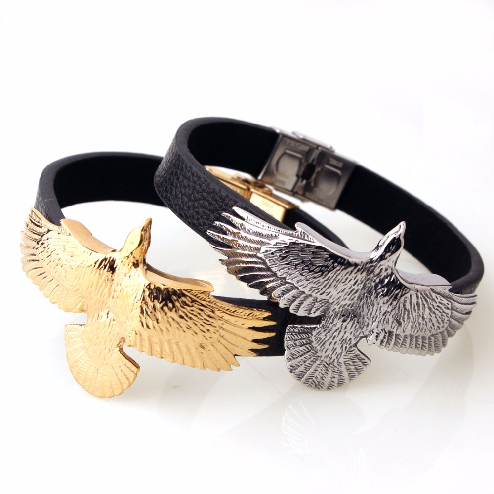 Genuine Top Quality Black Leather Cool Men's Stainless Steel Bracelet Silver Or Gold Color Eagle Newest Chic Chain Bangles 8.66″