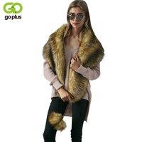GOPLUS Winter Faux Fox Fur Ball Thick Scarves Long Warm Scarf Cape Cloak Pashmina Fur Ball Fringed Wrap Scarf Shawl C4440