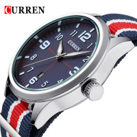 CURREN Date Waterproof Watches Luxury Women Dress Watch Multicolor Stripe Nylon Fabric Canvas Sports Men Watch
