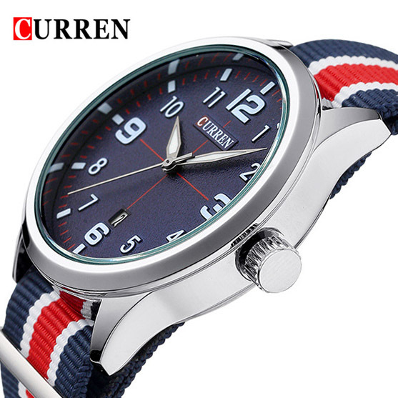 Curren Men's Casual Sport Quartz Watch Mens Watches Top Brand Luxury Quartz-Watch Nylon Strap Military Watch Wrist Male Clock mens watches top brand luxury military man clock fashion quartz men wrist watch rubber strap boys male outdoor sport watch 11296