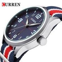 CURREN Date Waterproof Watches Luxury Women Dress Watch Multicolor Stripe Nylon Fabric Canvas Sports Men Watch