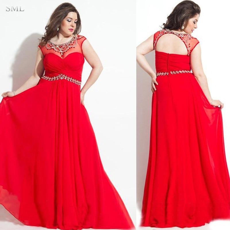 sml 2017 a line chiffon plus size evening dresses