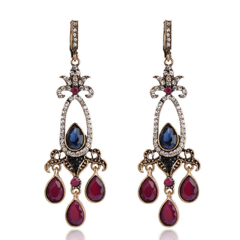 Blucome flor turca do vintage brincos longos brincos de resina cristais d ganchos brincos para mulheres senhora festa jóias orelha acessórios