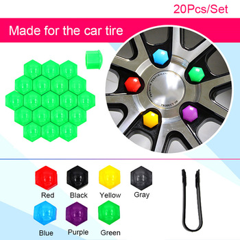 Hot 20 Pcs Car Wheel Nut Caps Auto Hub Screw Cover Rims Exterior Decor Socket Protection Dust-proof JLD image