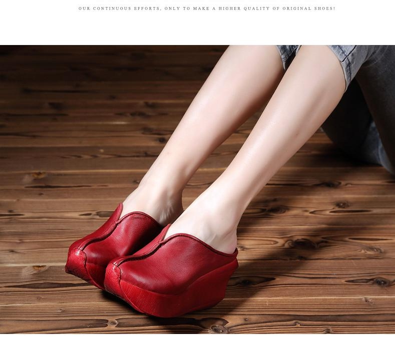 Johnature Summer 2019 New Ladies Slippers Sandals Casual Retro Genuine Leather Round Toe Women Shoes