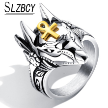 Punk Men Stainless Steel Anubis Egyptian Cross Finger Ring Animal Wolf Design Silver Color Ankh Knuckle Ring For Women Fashion