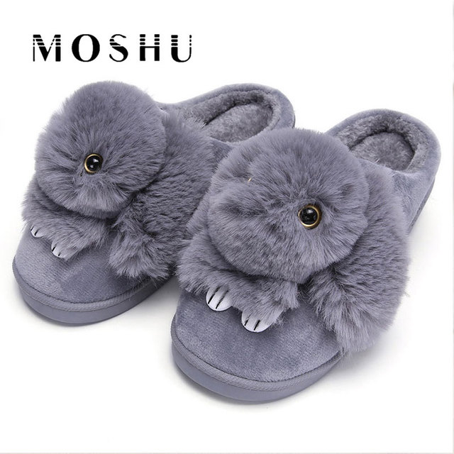 45fdadb351f1b Women Winter Home Slippers Ladies Animal Cute Bunny Warm Plush Indoor slippers  House Soft Casual Shoes For Women