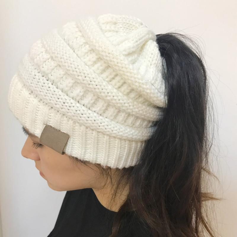 2018 New Arrival Women Warm Hat Warm Winter Knitted Chunky Soft Slouchy Beanie High Bun Ponytail Stretchy Hat Gorro Feminino ...