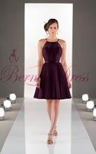 2014 Stylish Scoop A-Line Knee-Length Purple Crepe Ruched Bridesmaid Dresses Vestido Pra Madrinha Girls Junior Bridesmaid Dress