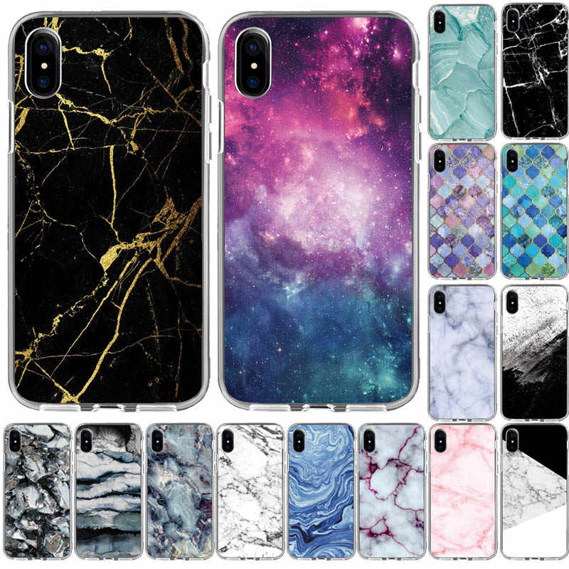 Marble Case on For Coque iphone X XR XS MAX Case Soft TPU Back Cover For iphone 5 5S SE S6 6S 7 8 Plus Case Cover Phone Case