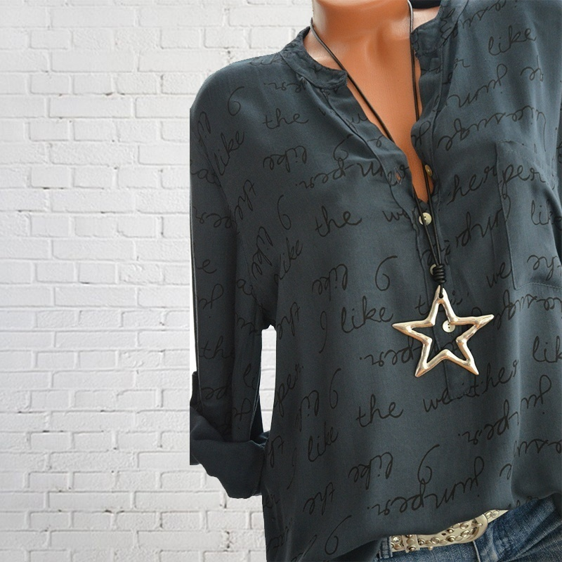 Women Fashion Letters Printed T Shrits V Neck Festivals Classics  Elegance Love Button Long Sleeved Comfort Tops Blouse