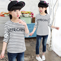 2017 spring and autumn fashion classic children's T-shirt girls 4-13 years old horizontal striped letters Slim rendering shirt