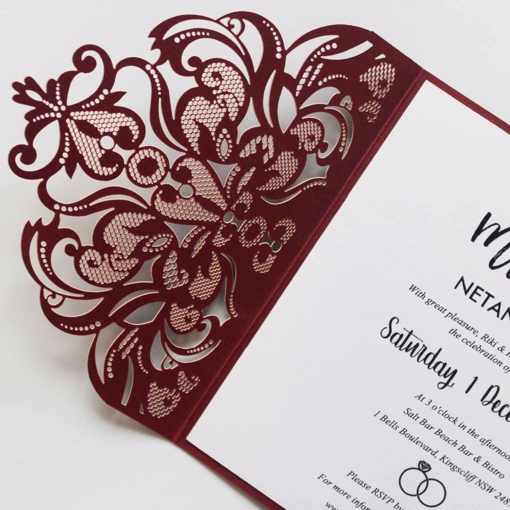 Elegant Laser Cut Wedding Invitation Set Wine Red Pocket Fold ...