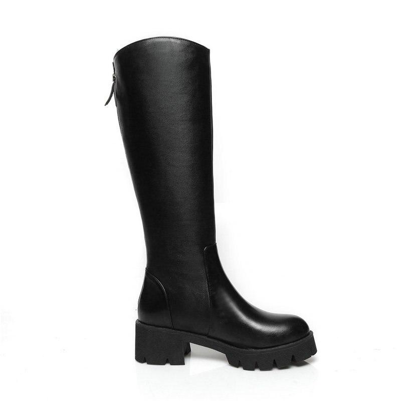 Talons Haute Western Vache Automne Épais Plate Noir Cuir Zipper Chaussures Nouvelle forme Dames Bottes Printemps Genou En Casual Femmes xBdrCoe