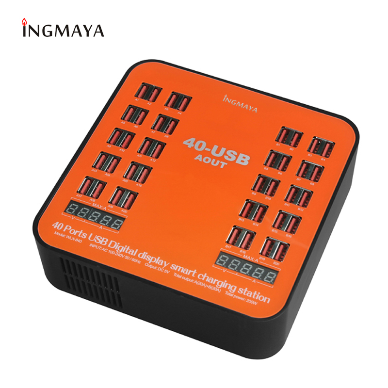 INGMAYA Multi port 40 USB Charger Station 200W LED Show 2.4A For iPhone iPad Samsung Huawei Mi HTC LG DV Power Bank AC Adapter|Mobile Phone Chargers| |  - title=