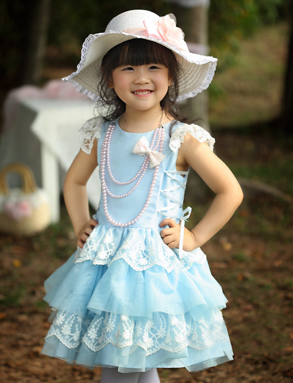 c6c9ef7a3 Cute baby girl one-piece blue dress kids summer short sleeve dress children  princess lace layered tutu dress birthday clothes
