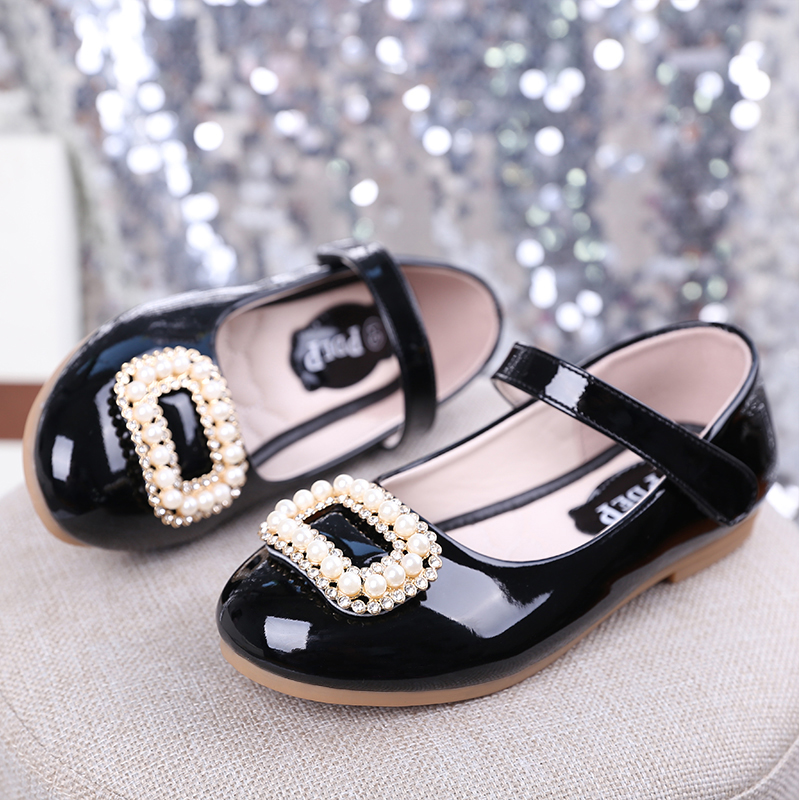 pdep school girls hook loop pu leather shoe white pearl party dress footwear toddler girl wedding leather shoes