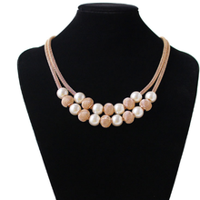 купить Fashion Necklace Collar Beads Necklaces & Pendants Women Gift Trendy Choker Metal Chain Statement Simulated Pearl Necklace дешево
