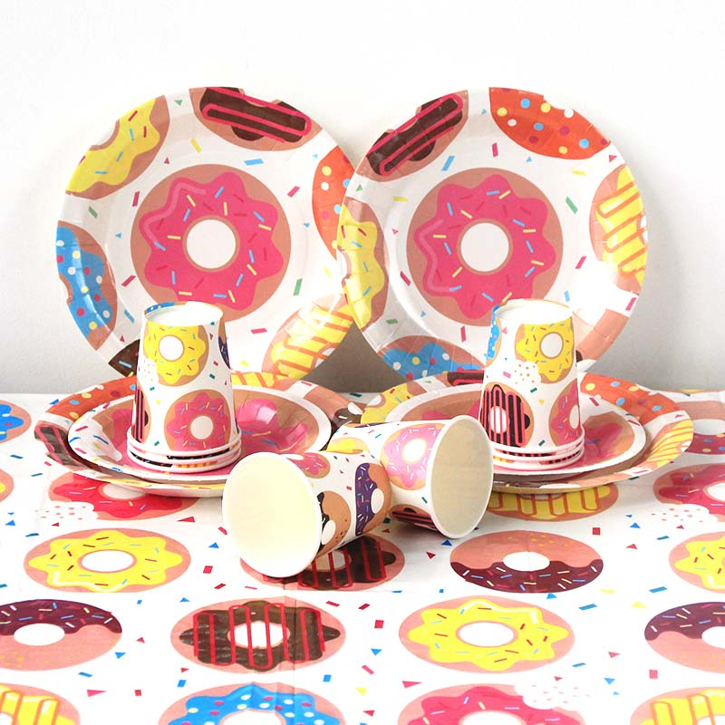 1st Birthday Party Paper Cups Plate Donut Grow Up Theme  Sweet 16th Birthday Decorations Kids Adut Baby Shower Party Supplies