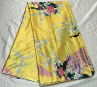 Popular Flower Print Pattern Yellow African Silk Satin Lace Fabric For Garment FS2 1