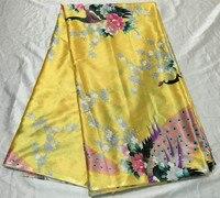 Popular Flower Print Pattern Yellow African Silk Satin Lace Fabric For Garment FS2 1