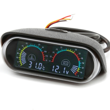 Water Temperature Gauge Meter Voltmeter 2 in 1 Horizontal 12v/24v LCD Digital Car Truck Voltage Sunshield Universal Auto