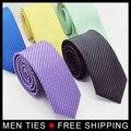 Nueva Llegada de Los Hombres A Rayas lazo Estrecho 5 cm ancho Mens fasthion Formal Vestido Lazo Lazo de La Boda corbata de color 15 envío gratis