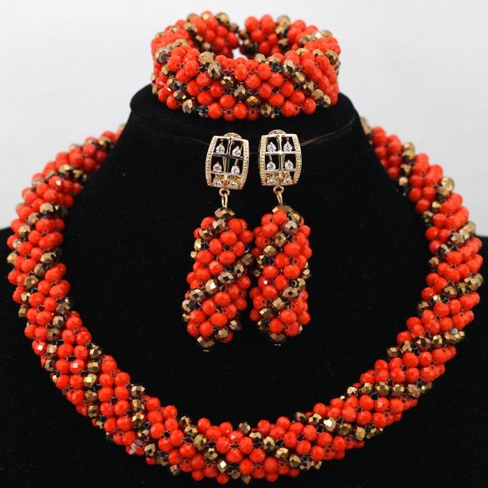 Nigerian Fashion Beads Crystal Braid African Costume Jewelry Sets Orange Gold Women Wedding Beads Necklace Free Shipping ABK110 african orange red beads necklace sets orange gold crystal balls beads women fashion jewellery sets qw1191