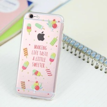 Ice cream Transparent Ultra Thin Soft TPU Mobile Phone Full Protective Shell Case Cover for iPhone5